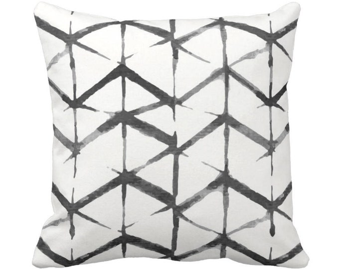 "OUTDOOR Shadow Geometric Throw Pillow or Cover, Black/Gray/White 14, 16, 18, 20, 26"" Sq Pillows/Covers Watercolor/Hand-Dyed Print, Grey"