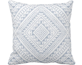 """OUTDOOR Diamond Geo Throw Pillow or Cover, Chambray 14, 16, 18, 20 or 26"""" Sq Pillows/Covers, Light/Dusty Blue Geometric/Tribal/Batik/Boho"""