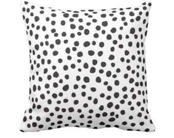 "OUTDOOR Scatter Dots Throw Pillow or Cover, Black/White 14, 16, 18, 20 or 26"" Sq Pillows/Covers, Polka/Spots/Animal/Modern/Leopard Print"
