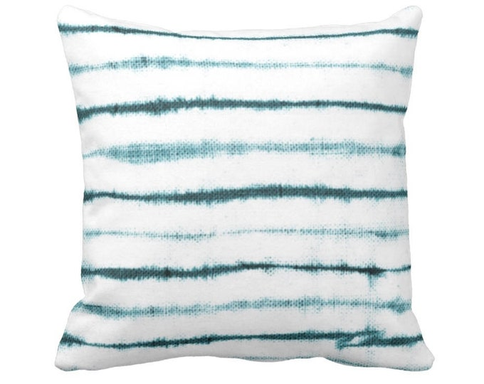"""OUTDOOR Uneven Lines Throw Pillow or Cover, Teal/White Print 14, 16, 18, 20 or 26"""" Sq Pillows/Covers, Striped/Stripe/Line Turquoise Blue"""