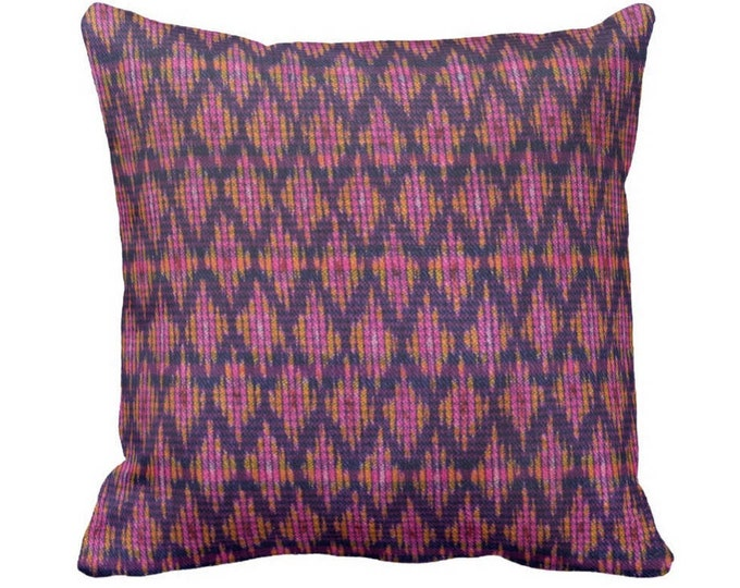 """OUTDOOR Thai Ikat Printed Throw Pillow or Cover, Pink, Purple & Orange 14, 16, 18, 20, 26"""" Square Pillows/Covers, Vintage Textile Print"""