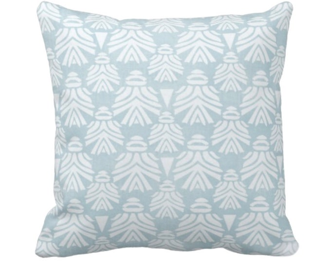 "Block Print African Mask Throw Pillow or Cover, Sky 14, 16, 18, 20, 26"" Sq Pillows/Covers Light Aqua Blue/Green Tribal Blockprint/Boho Print"