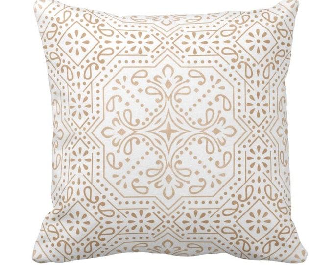 "Tile Print Throw Pillow or Cover, Sand 14, 16, 18, 20, 26"" Sq Pillows or Covers, Light Beige/Flax Geometric/Batik/Trellis/Boho/Lattice"