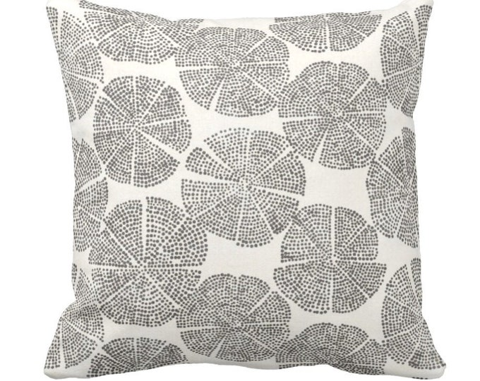 "Block Print Floral Throw Pillow or Cover, Charcoal & Off-White 14, 16, 18, 20, 26"" Sq Pillows/Covers, Blockprint/Batik/Boho/Tribal Pattern"