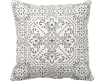 """Tile Print Throw Pillow or Cover, Charcoal/Off-White 14, 16, 18, 20 or 26"""" Sq Pillows or Covers, Trellis/Geometric/Batik/Geo Pattern"""