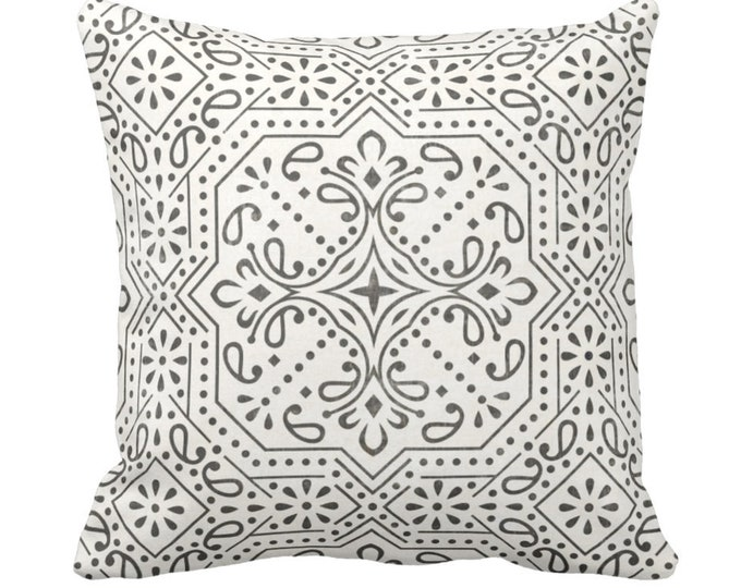 "Tile Print Throw Pillow or Cover, Charcoal/Off-White 14, 16, 18, 20 or 26"" Sq Pillows or Covers, Trellis/Geometric/Batik/Geo Pattern"