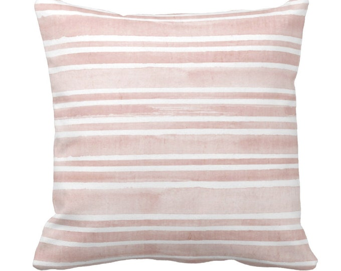 """Watercolor Stripe Throw Pillow or Cover, Pink Sand/White 14, 16, 18, 20 or 26"""" Sq Pillows or Covers, Stripes/Lines/Hand Painted Print"""