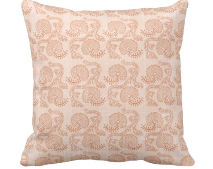 "OUTDOOR Block Print Floral Throw Pillow or Cover, Dusty Coral 14, 16, 18. 20, 26"" Sq Covers, Earthy Orange Batik/Boho/Blockprint Pattern"