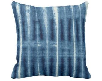 "Indigo Printed Mud Cloth Throw Pillow or Cover, Geometric Lines 14, 16, 18, 20, 26"" Sq Pillows or Covers, Blue Mudcloth/Stripes/Stripe/Geo"