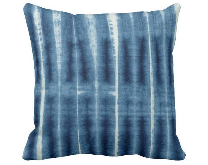 "Indigo Mud Cloth Print Throw Pillow or Cover, Geometric Lines 14, 16, 18, 20, 26"" Sq Pillows or Covers, Blue Mudcloth/Stripes/Stripe/Geo"