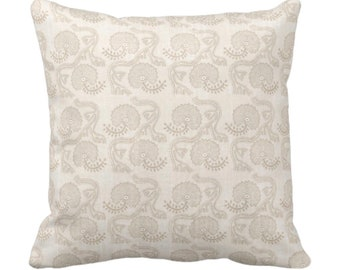 """Block Print Floral Throw Pillow or Cover, Cream 14, 16, 18, 20, 26"""" Sq Pillows/Covers, Earthy Beige/Off-White Flower/Batik/Geo/Boho Pattern"""