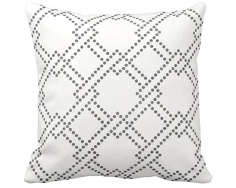 """Linked Squares Throw Pillow or Cover, Charcoal/White 14, 16, 18, 20, 26"""" Square Pillows or Covers, Dark Grey Geometric Print/Pattern"""