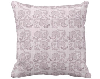 "OUTDOOR Block Print Floral Throw Pillow or Cover, Lavender 14, 16, 18, 20, 26"" Sq Pillows/Covers, Dusty Purple Flower/Batik/Boho/Blockprint"