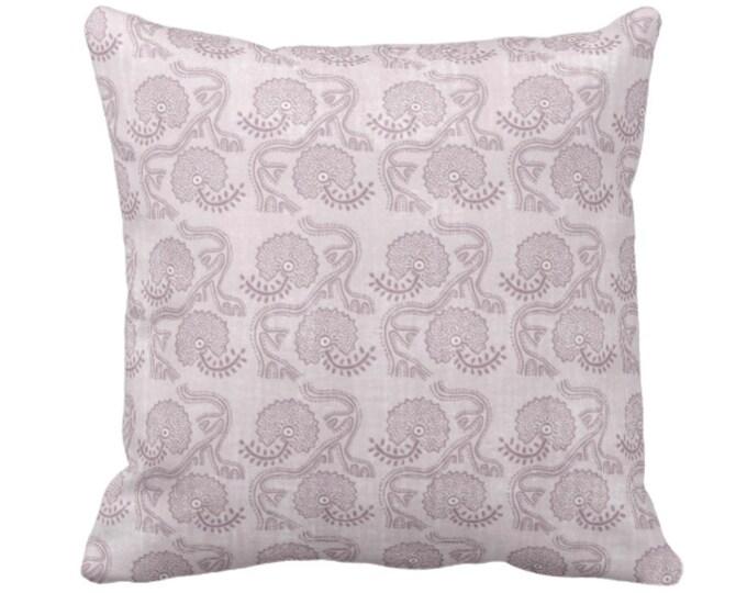"OUTDOOR Block Print Floral Throw Pillow or Cover, Lavender 14, 16, 18, 20, 26"" Sq Pillows/Covers, Dusty Purple Flower/Batik/Boho/Blockprint"