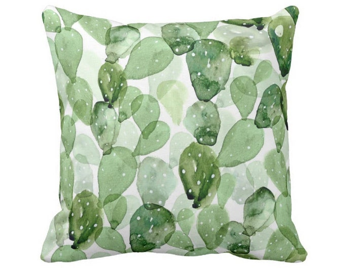 """OUTDOOR Watercolor Cactus Throw Pillow or Cover, Green/White 14, 16, 18, 20, 26"""" Sq Pillows/Covers, Olive/Sage Succulent/Southwest/Nature"""