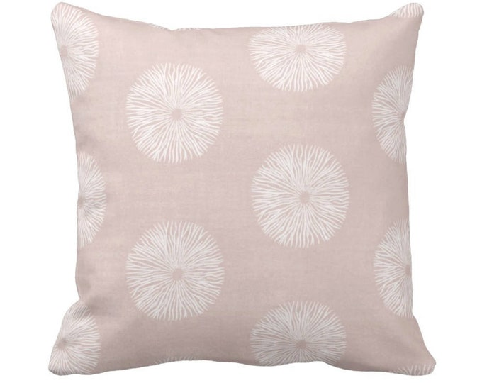 "OUTDOOR Sea Urchin Throw Pillow or Cover, Blush/White 14, 16, 18, 20, 26"" Sq Pillows/Covers Dusty Pink Modern/Abstract/Geo/Geometric Print"