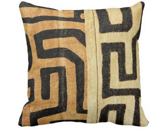 "Outdoor Kuba Cloth PRINTED Throw Pillow COVER ONLY, Tan/Black 14, 16, 18, 20, 26"" Sq Pillows/Covers, Geometric/African/Tribal/Boho/Design"