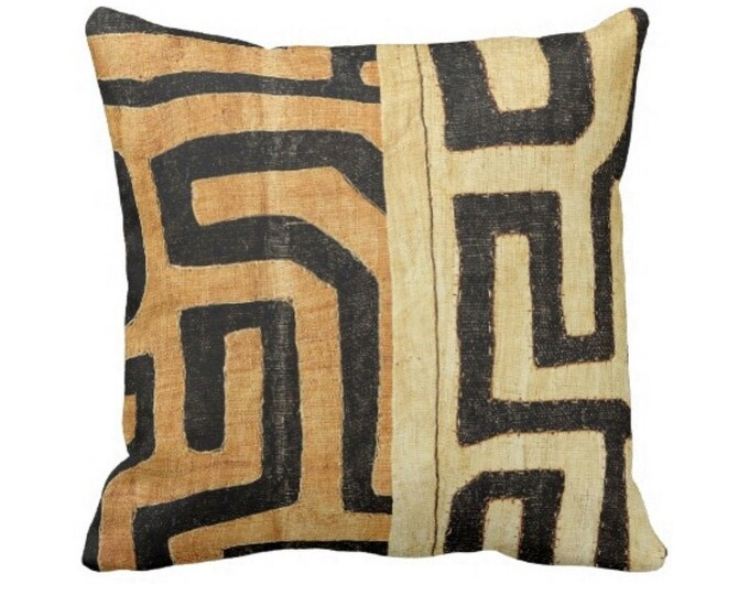 "OUTDOOR PRINTED Kuba Cloth Throw Pillow or Cover, Tan/Black 14, 16, 18, 20, 26"" Sq Pillows/Covers, Geometric/African/Tribal/Boho/Design"