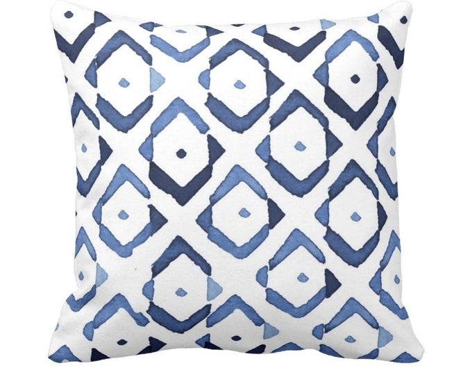 "Diamond Geo Throw Pillow or Cover, Indigo/White 14, 16, 18, 20, 26"" Sq Pillows or Covers, Navy/Blue Diamonds/Ikat/Geometric Print"