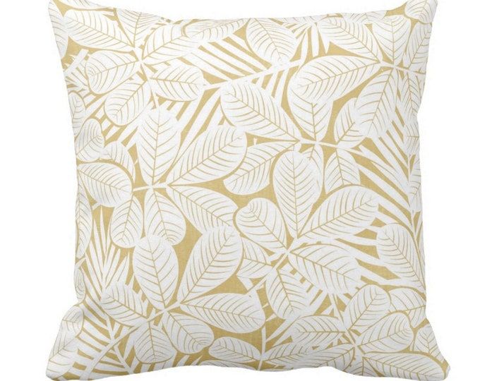 """Modern Leaves Throw Pillow or Cover Mustard/White Print 14, 16, 18, 20 or 26"""" Sq Pillows or Covers Yellow Retro Tropical Print"""