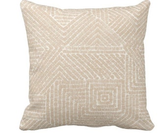"""Tribal Geo Throw Pillow or Cover, Sand 14, 16, 18, 20 or 26"""" Sq Pillows or Covers, Light Beige/Flax Scratch Geometric/Tribal/Batik/Geo/Boho"""