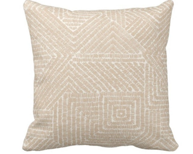 "Tribal Geo Throw Pillow or Cover, Sand 14, 16, 18, 20 or 26"" Sq Pillows or Covers, Light Beige/Flax Scratch Geometric/Tribal/Batik/Geo/Boho"