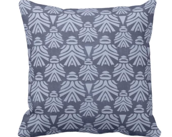 "Block Print African Mask Throw Pillow or Cover, Navy/Indigo 14, 16, 18, 20, 26"" Sq Pillows or Covers, Dark Blue Tribal Blockprint/Boho Print"
