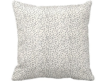 "OUTDOOR Confetti Dots Throw Pillow or Cover, Dark Gray/Cream Print 14, 16, 18. 20, 26"" Sq Pillows/Covers, Black/Ebony/Off-White Scatter Dot"