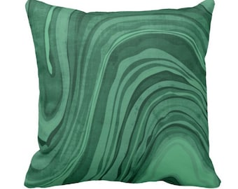 """OUTDOOR Marbled Print Pillow or Cover, Emerald 14, 16, 18, 20, 26"""" Square Pillows or Covers Deep/Jewel Tone Green Marble/Swirl/Lines/Waves"""