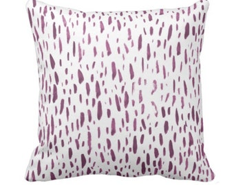 "Hand-Painted Dashes Throw Pillow or Cover, Plum/White 14, 16, 18, 20, 26"" Sq Pillows or Covers, Purple Dot/Dots/Splatter Print"