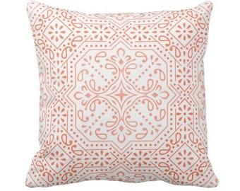 "Tile Print Throw Pillow or Cover, Coral 14, 16, 18, 20, 26"" Sq Pillows or Covers, Melon/Orange Geometric/Batik/Trellis/Boho/Lattice"