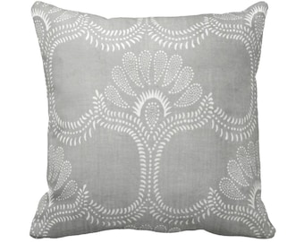 """OUTDOOR Lotus Batik Printed Throw Pillow or Cover, Gray 16, 18, 20"""" Square Covers/Pillows, Print, Vintage Chinese Grey Textile"""