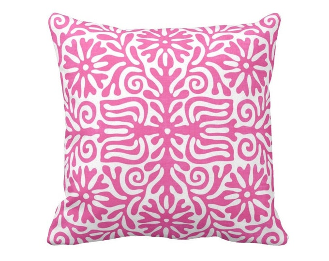 "Folk Floral Throw Pillow or Cover, Powder Pink/White 16, 18, 20 or 26"" Sq Pillows or Covers, Bright Mexican/Boho/Bohemian/Tribal"