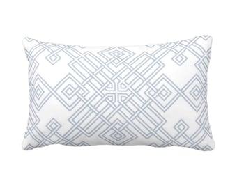 "Interlocking Geo Throw Pillow or Cover, Indigo/White 14 x 20"" Lumbar Pillows or Covers, Light Blue, Tile/Trellis Print/Pattern"