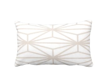 "OUTDOOR Modern Geo Throw Pillow or Cover, Sand/White Print 14 x 20"" Lumbar Pillows/Cover, Taupe/Beige Lines/Japanese/Geometric/Stripe"