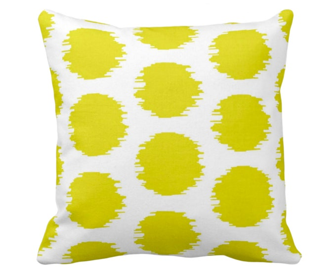"OUTDOOR Ikat Dot Throw Pillow or Cover, Yellow/White 14, 16, 18, 20 or 26"" Sq Pillows or Covers, Dots/Spots/Circles/Dotted/Art Print/Pattern"