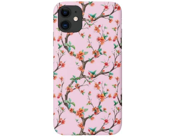 Cherry Blossom iPhone 11, XS, XR, X, 7/8, 6/6S  Pro/Max/Plus/P Snap Case or Tough Protective Cover, Pink/Coral Floral/Flower Branch Pattern