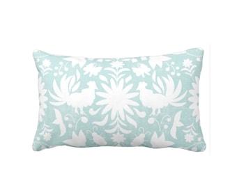 "READY 2 SHIP - Otomi Throw Pillow Cover, Aqua/White 14 x 20"" Lumbar Pillow Covers Light Blue Mexican/Boho/Floral/Animals Print/Pattern"