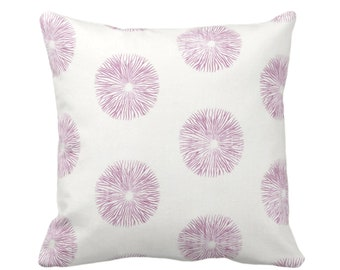 """SALE Sea Urchin Throw Pillow Cover, Off-White/Plum 20"""" Square Pillow Covers, Dusty Purple/Pink Modern/Starburst/Geometric Print"""