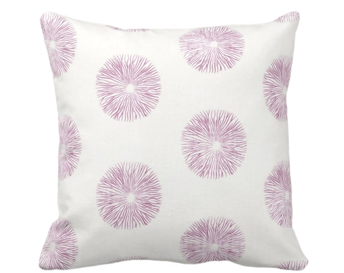 "Sea Urchin Throw Pillow or Cover, Off-White/Plum 16, 18, 20, 26"" Sq Pillows or Covers, Dusty Purple/Pink Modern/Starburst/Geometric Print"