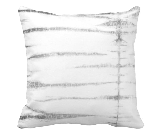 "OUTDOOR Subtle Stripe Throw Pillow or Cover, Gray/White 16, 18 or 20"" Sq Pillows or Covers, Shibori/Lines/Striped/Tribal/Geo Print"