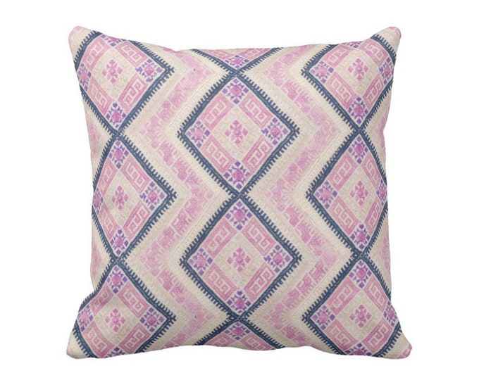 "Chinese Wedding Blanket PRINTED Throw Pillow or Cover, Pink/Blue 16, 18, 20 or 26"" Sq Pillows or Covers, Thai Embroidered, Pastel"
