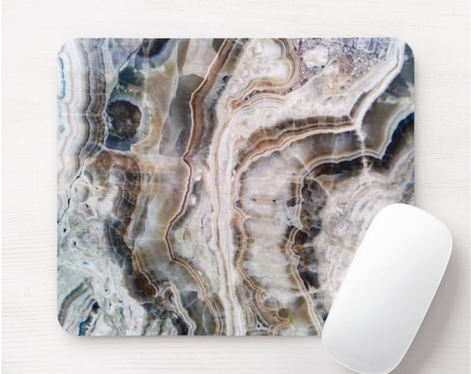 Agate Printed Mouse Pad/Mousepad, FAUX Beige/Taupe Vein/Veining Stone/Marble/Marbled Gray/Brown/Off-White Print/Pattern