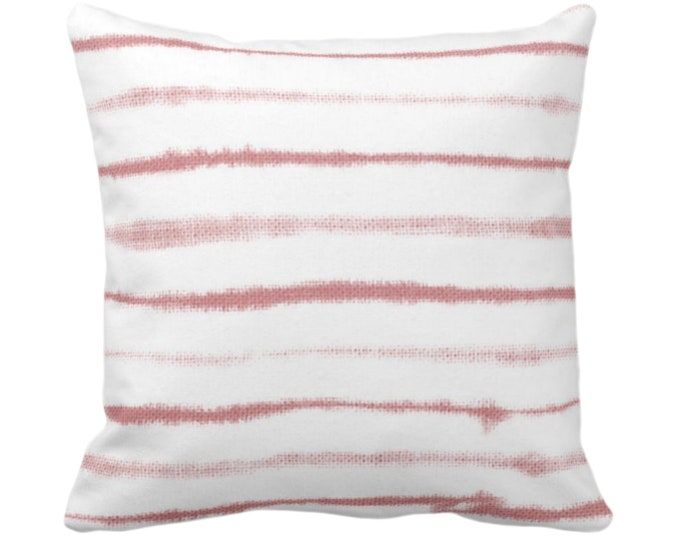 """Uneven Lines Throw Pillow or Cover, Pink Clay/White 16, 18, 20 or 26"""" Sq Pillows or Covers, Blush Stripe/Stripes/Lines/Hand Painted Print"""