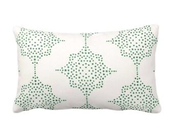 "OUTDOOR Block Print Stars Throw Pillow or Cover, Emerald & Ivory 14 x 20"" Lumbar Pillows/Covers, Green Blockprint/Batik/Geometric/Tribal"
