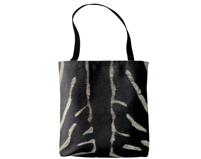 Zebra Print Market Tote, Black and Tan Boho Animal Print Bag, Faux Fur Printed Pattern