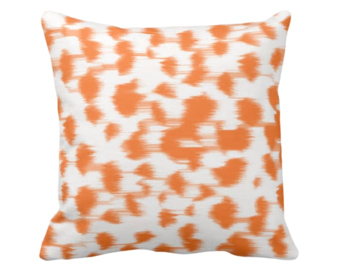 """Ikat Abstract Animal Print Throw Pillow/Cover 14, 16, 18, 20, 26"""" Sq Pillows/Covers, Bright Orange/White Spots/Spotted/Dots/Dot/Geo/Painted"""