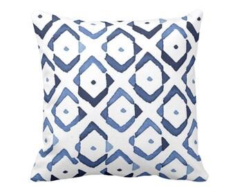 "Diamond Geo Throw Pillow or Cover, Indigo/White 16, 18, 20, 26"" Sq Pillows or Covers, Navy/Blue Diamonds/Ikat/Geometric Print"