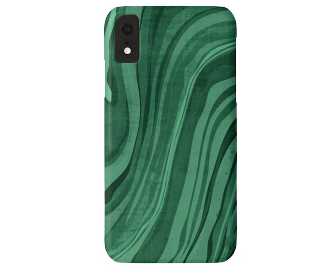 Emerald iPhone 11, XS, XR, X, 7/8, 6/6S Pro/ Max/Plus/P Snap On Case or Tough Protective Cover, Green Marble/Marbled Abstract/Modern Print