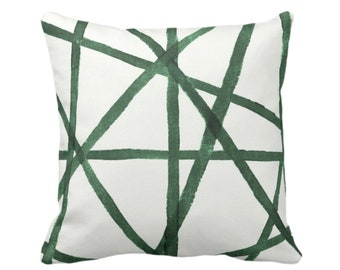 "OUTDOOR Hand Painted Lines Throw Pillow or Cover, Kale & White 16, 18 or 20"" Sq Pillows or Covers, Channels/Stripes Print, Green"